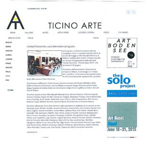 United Factories, una biennale con gusto – Ticino Arte – giugno 2015
