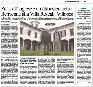 Villa Rescalli Villoresi – Il Giorno – dicembre 2014