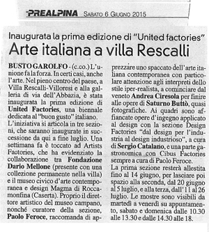 Prima Edizione di United Factories a Villa Rescalli Villoresi – la Prealpina giugno 2015